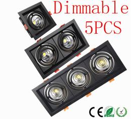Canada DHL 5pcs noir-carré Dimmable Led COB plafonnier downlight 10w 20W 30W rotatif 110V / 220V Chaud / blanc monté en surface éclairage intérieur Offre