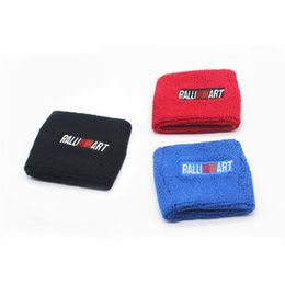 Wholesale car tank cover - 10pcs Black Red Blue Car Styling Ralliart Tank Covers Oil Catch Tank Cover Cap Sock For Mitsubishi