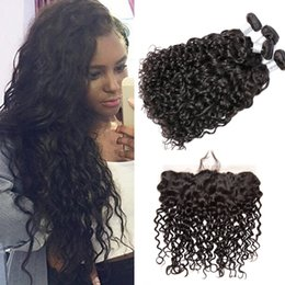Wholesale Lace Closures Peruvian Wavy Hair - Brazilian Virgin Hair Lace Frontal Closure with Bundles Brazilian Human Hair Weave Bundles Wet and Wavy Water Wave 3 Bundles with Closure