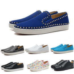 Wholesale Sports Loafers Shoes - (With Box)Wholesale New Men Genuine Leather With Colorful Spikes Low Causal Sports Shoes Brand Designer Red Bottom Loafers Sneakers Shoes