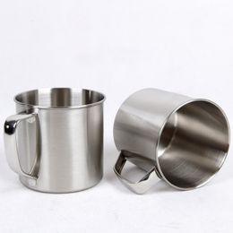 Tazas de acero inoxidable para niños. online-250 ml de acero inoxidable taza de té taza de café que acampa diámetro de viaje 7 cm cerveza leche expreso aislado Shatterproof niños Copa WX9-303