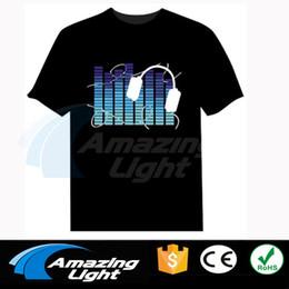 Wholesale Led Activate Equalizer - Blue headphone Music Activated EL Tshirt Cold light sound activated Equalizer LED T-Shirt for Bar Rock Disco with DC3V inverter