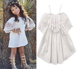 Wholesale maxi dresses for kids - baby girl pagenant dresses fashion lace white dress for kids princess party tutu sundress short sleeves onesie maxi outfits toddlers clothes