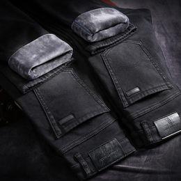 51144eded91d4 Jeans d hiver pour hommes Pantalones chauds Hommes Pitillos Hombre Noir  Streetwear Jean Biker Calca Masculina Pantalon Rue Slim Marcas peu coûteux  jeans ...
