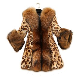 Wholesale Sexy Faux Fur Coat - 2017 Winter women Sexy Leopard Print faux fur coat Luxurious slim warm fox fur jacket warm plus size 5XL coat FP0196