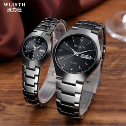 Мужские наручные часы из вольфрамовой стали онлайн-WLISTH  men's luminous watch tungsten steel color waterproof fashion student couple watch male calendar quartz
