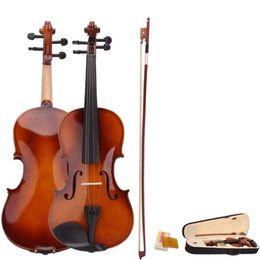 geige violinen Rabatt Großhandel 4/4 Full Size natürliche akustische Violine Geige Handwerk Violino mit Fall Stumm Bogen Saiten 4-String Instrument für Beiginner