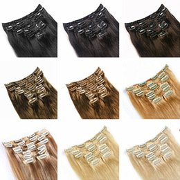 """Wholesale remy hair extensions set - 9 color Indian remy hair Clip in on Human Hair Extension 16""""-26"""" 7pcs set 70g dark brown blonde color Full Head"""