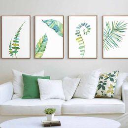 Wholesale Modern Art Nature Painting - 1pc Watercolor Tropical Plant Leaves Minimalist Art Canvas Poster Painting Nature Wall Picture Modern Home Office Room Deco