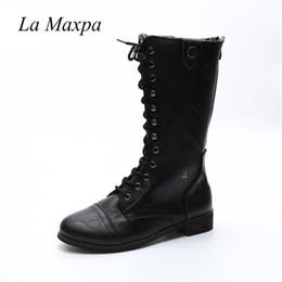 La MaxPa 2018 En Cuir PU Femmes Bottes À Lacets Fermeture Éclair Chaussures Botas Feminina Mode Féminine Moto Bottes Mi-Mollet Femmes Mujer ? partir de fabricateur