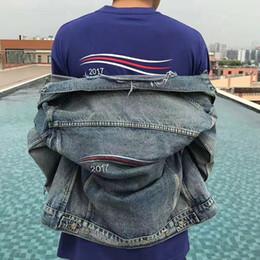 Wholesale Black High Waisted Denim - 2017 BA LOGO Printed Black Denim Jacket Waves Embroidery Fashion Men Women Couple Hole Do the old Outerwear Hip Hop High Street HFLSJK067