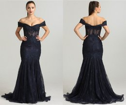Wholesale Modern Art Nude Girls - Modern Mermaid Evening Formal Gowns Long Cheap 2018 Lace Off shoulders Lace Fabric Formal Women Girls Dresses Short Sleeves See Through