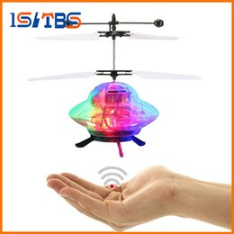 Wholesale channel ball - DHL Free Shipping RC Helicopter Hand Flying UFO Ball LED Mini Induction Suspension RC Aircraft Flying Toy Drone