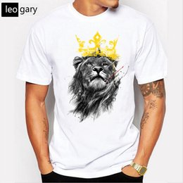aef12f43b King of lion printed brand t shirt men 2017 new summer o-neck short sleeve  cotton t-shirt men funny tee shirts cool tops