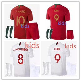 Wholesale Gold Yellows - 2018 World Cup home Portugal kids Jerseys kit 18 19 away Silva ronaldo nani national team child football jersey shirts top quality