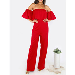 Wholesale Long Bandeau - Sexy Women Red Bandeau Jumpsuits Summer Strapless Flare Sleeve Ruffles Tunic Top Long Pants Straight Jumpsuits For Party