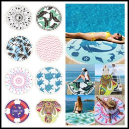 Wholesale Beach Decor For Home - 2018 New 150*150CM Polyster Round Beach Blankets With Tassels 22 Tropical Styles Printing Beach Towel for Home Decor