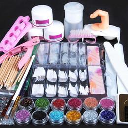 Wholesale Acrylic Art Sets - Acrylic Nail Art Manicure Kit 12 Colors Nail Glitter Powder Decoration Acrylic Pen Brush Nail Art Tool Kit Sets For Beginners
