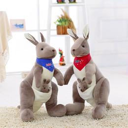 Wholesale Toys Kangaroos - 2PCS SET Gray Kangaroo Plush Toys Child Stuffed Toys Plush Kangaroo Dolls With Scarf Animal Dolls For Baby Christmas Gifts MR34