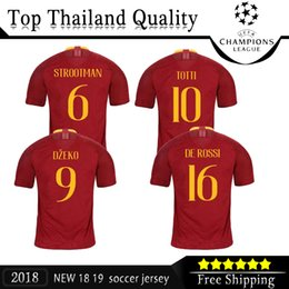Wholesale red issues - 2018 19 Champions League EDITION Issue Romas soccer jersey TOTTI rome football shirt 18 19 maillot de foot Dzeko Nainggolan Perotti De Rossi