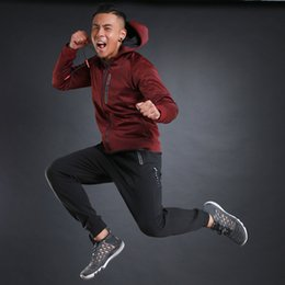 Wholesale Outdoor Running Clothes - Wholesale- 2017 New Outdoor 2 Pieces Running Suits Mens Warm Jogging Sports Suits Hoodies Basketball Running Set Zipper Gym Fitness Clothes