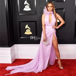 prêmios tapete vermelho Desconto A Line Celebrity Dresses Sem Mangas Prom Vestido Profundo Decote Em V Slit Vestido De Noite 2019 red carpet Grammy Awards