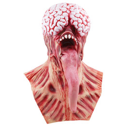maschere di mascheramento del diavolo Sconti New Creative Brain Long Tongued Halloween Monster Maschera Spaventosa Latex Devil Masks Masquerade Party Silicone Horror Zombie Terrore