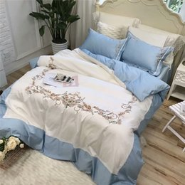 Wholesale Egyptian Cotton Sets - New arrival White blue queen king Bedding Set Egyptian cotton embroidery bed set bed cover soft Bedsheets Duvet quilt cover
