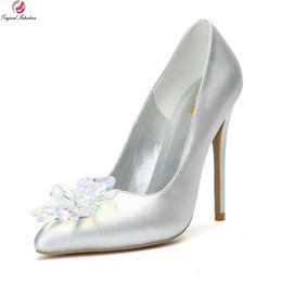 sapatas do salto alto tamanho 15 Desconto atacado Mulheres lindas Bombas de Casamento Dedo Apontado Fino Salto Alto Bombas Sapatos de Prata Mulher Plus Size EUA 4-15