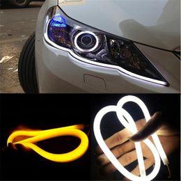 tira de señal Rebajas 2x 12V luz de señal de giro luces de tira flexibles del coche del silicio LED los 30cm los 45cm los 60cm luz del día que conducen el tubo AUTO DRL azul / blanco / amarillo