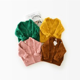 Wholesale Baby Outer - High Quality New Baby Children Clothing Girls Candy Color Knitted Cardigan Sweater Kids Spring Autumn Winter Cotton Outer Wear