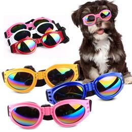 Защитные очки для собак онлайн-Собака очки Мода складной очки для собак очки Очки Очки УФ-защиты водонепроницаемый большой домашнее животное Собака Pet солнцезащитные очки T2I407