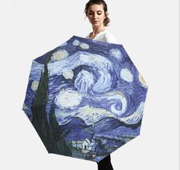 Pinturas de Van Gogh Paraguas de vinilo UV UV Paraguas de sol Mujeres al aire libre Protector solar Tres sombrillas al por mayor Individualidad Paraguas desde fabricantes