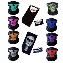 half mask lower Promo Codes - Halloween Mask Festival Skull Masks Skeleton Outdoor Motorcycle Bicycle Multi function Neck Warmer Ghost Half Face Mask Scarves