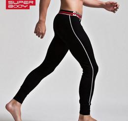 Wholesale Superbody Underwear - SUPERBODY Men Thermal Underwear Long Johns Men Fashion Slim Warm Leggings Cotton Autumn And Winter Underwear Bottom Trousers