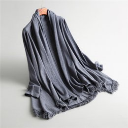 Wholesale Cashmere Poncho Black - New Autumn Winter Women Warm Oversized Knitted Cashmere Poncho Capes Duplex Shawl Cardigan Sweater Coat With Tassel P1737