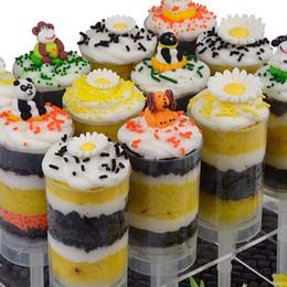 seringa de arte Desconto Coração em forma redonda Food Grade Empurrar Para cima Bolo Pop Recipientes Sorvete Cupcake Para Decorações Do Partido DIY Molde De Plástico