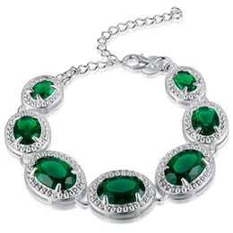 Wholesale Topaz Sterling 925 Silver Bracelet - luckyshine Fashion Best Seller 925 silver green topaz square Handmade Silver crystal Bracelet B0915