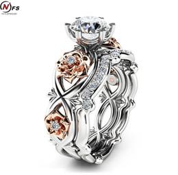 Fidanzamento di anelli di fiori rosa online-NFS Anello di fidanzamento di marca Set Fiore di rosa principessa Cut Zirconia Anelli di cristallo per le donne Anillos caldo Anel