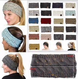 Beanies femininas on-line-Malha de Crochê de malha 21 Cores Mulheres Esportes de Inverno Headwrap Hairband Turbante Cabeça Banda Head Warmer Beanie Cap Headbands AAA1435
