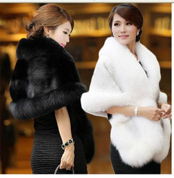 Wholesale bolero fur shrug - High Quality Faux Fur Wedding Wraps 2017 Elegant High Neck White Black Bridal Shawls Shrugs Free Shipping Wedding Accessories
