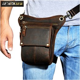 Hot Sale Crazy Horse Real Leather Design Men Vintage Coffee Small Belt Messenger Bag Waist Pack Drop Leg Bag Pouch 3106db Fine Quality Fine Jewelry