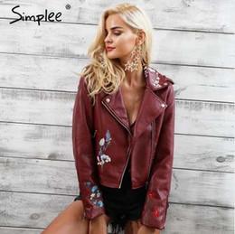 Simplee bordado chaqueta de cuero de imitación de la motocicleta con  cremallera vino chaqueta de cuero rojo mujeres moda fresca chaqueta de  invierno ropa de ... 1d84f6853e7d