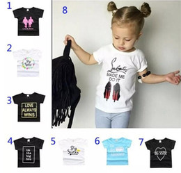 Wholesale Christmas Summer Shirts - 25 Styles New Baby Girls Boys Summer T Shirt INS Kids Letter Printing Soft Cotton Short Sleeve Top Tees A08