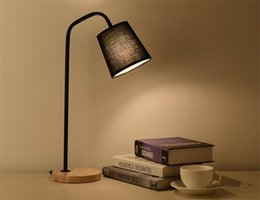 Wholesale Wood Working Irons - Loft European Style LED Table Lamp e27 Retro Wood Iron Reading Study Work Desk Lamps Light Indoor For Bedroom Reading Room fabric shade