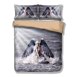 Wholesale Cotton Duvet Covers Single - Wongsbedding 3PCS 3D Angel Wings Bedding Set HD Print Duvet Cover Single Full Queen King Size Bedclothes