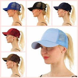 Wholesale Ladies Summer Hats Wholesale - CC Lady Baseball Hats Ponytail Caps Horsetail Baseball Cap 13 Colors Women Girls Back Hole Beach Snapback Pony Tail Cap AAA94