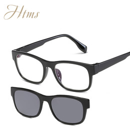 Wholesale clip sunglasses mirror - Magnet Flat Polarized Sunglasses Dual use TR90 Clip Mirrored Sunglasses glasses MenClips Custom Prescription Myopia Eyeglasses