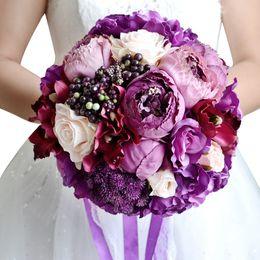 Canada 2018 Vente chaude Mariage Fleurs de mariage Bouquets de mariage pourpre Bouquets de mariage artificiels pour les mariées bouquet de mariée supplier artificial flowers for sale Offre