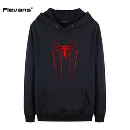 Wholesale Spiderman Sweatshirt - Flevans 2017 New Fashion Mens Hoodies Sweatshirts With Hat Print Spiderman Autumn Winter Hooded Hoody Tops